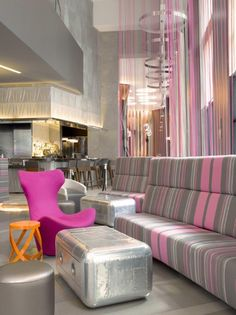 Alex Hayden, Commercial Spaces Photography, Pink and Grey Seating Area