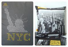 """Le point de croix version 2015 avec la gamme """"Custom by me"""" de DMC : coussin New York à découvrir sur www.tadaam.fr (Cross stitch embroidery : New York cushion)"""