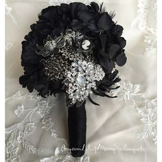 Black gothic bouquet. Goth brooch bouquet. by MerryMeBouquets #craftshout0123 #blackbouquet #gothicwedding #goth #blackflowers #blackbroochbouquet #etsy
