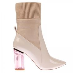 Thea High Ankle Boot In Nude Patent With Pink Heel ($49) ❤ liked on Polyvore featuring shoes, boots, ankle booties, ankle boots, nude boots, patent leather boots, pink booties and block-heel ankle boots