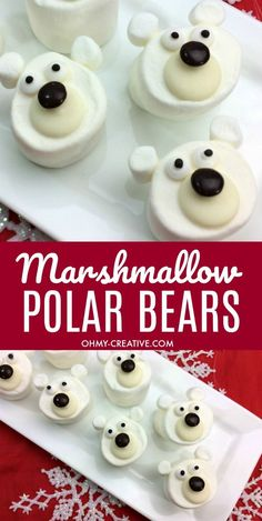 These Marshmallow Polar Bear Craft Treats are adorable! A perfect Christmas or winter treat to add to a cup of hot chocolate! Easy to make polar bear treat! Winter Treats, Holiday Treats, Holiday Recipes, Chocolate Bomb, Hot Chocolate Bars, Christmas Snacks, Christmas Baking, Diy Christmas, Candy Recipes