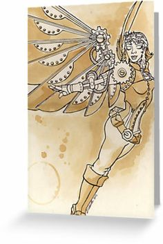 "sTEAmpunk Angel"" Greeting Cards & Postcards by LCWaterworth ... If I made her a paper doll angel, i could attach gears to her joints."