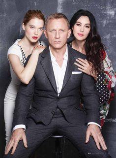 Lea Seydoux, Daniel Craig and Monica Bellucci for Spectre