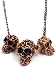 Triple Skull Necklace #InkedShop #skulls #necklace #jewelry #style #fashion