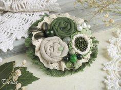 """Купить """"Базилик"""" бохо брошь цветок зеленый серый - броши, брошь натуральные камни,брошь boho chic boho jewelry boho brooch brooch textile"""