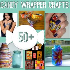 Over 50 Candy Wrapper Crafts to make #DIY from @savdbylove~ Some of these would make GREAT GIFT IDEAS!
