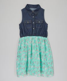 Look what I found on #zulily! Mint Butterfly Chambray Shirt Dress - Toddler & Girls by Dollhouse #zulilyfinds