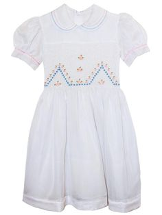 Vintage Girls White Organza Dress with Pink And Blue Smocking 5 First Communion Dresses, Baptism Dress, Christening Gowns, White Silk Dress, Girls White Dress, Vintage Girls, Vintage Dresses, Cute Fashion, Teen Fashion