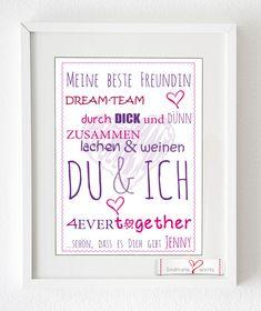 """Wanddeko - Kunstdruck für Deine beste Freundin """"DU & ... - ein Designerstück von Soulmate-Works bei DaWanda"""