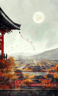 Scenic temple and town art.Izan's old town- kei town scenery COL Fantasy Anime, Fantasy Art, Fantasy Landscape, Landscape Art, Art Carte, Art Asiatique, China Art, Wow Art, Anime Scenery