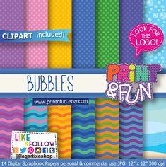 Bubbles, Digital Paper Bubble, clip art Background Patterns, waves, sea, for Party Printables, bottle labels, favor boxes, toppers