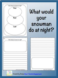 """A writing activity perfectly paired with """"Snowmen at Night"""". Using a snowman graphic organizer students will brainstorm 3 things their snowman may do while they are asleep at night. Then they will write a narrative about what their snowman did! Kindergarten Writing, Teaching Writing, Primary Teaching, Teaching Activities, Winter Activities, Teaching Ideas, Classroom Activities, Grammar Activities, Preschool Worksheets"""