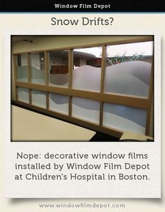 With locations nationwide, Window Film Depot has the ability to install commercial window film wherever you may need it. Contact your local office now! Commercial Windows, Window Films, Childrens Hospital, In Boston, Home Office, Solar, Architecture, Finance, Snow