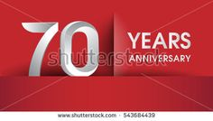 70 Years Anniversary celebration logo, flat design isolated on red background, vector elements for banner, invitation card and birthday party.