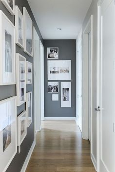 Struggling to decorate your long, narrow hallway? We have 19 long narrow hallway ideas that range in difficulty. From painting one wall to adding a long runner, we've got you covered. Turn your hallway into a library, or add shoe storage. Hallway Paint Colors, Hallway Walls, Upstairs Hallway, Paint Colours, How To Paint Hallways, Hallway Paint Design, Colours For Hallways, Dark Colors, Flur Design
