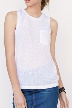 Slightly sheer with a cut out back layer.   Cut Out Tank by BlankNYC. Clothing - Tops - Tees & Tanks New York City