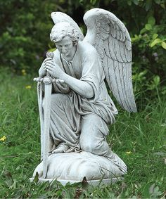 13.25'' Kneeling Male Angel Figurine