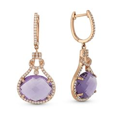 8.40ct Oval Cut Amethyst & Round Diamond Halo Dangling Earrings in 14k Rose Gold - AlfredAndVincent.com