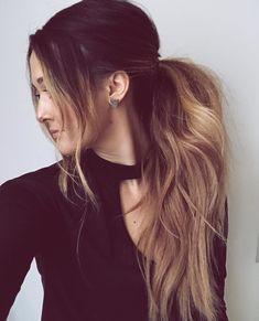 Messy balayage ponytail