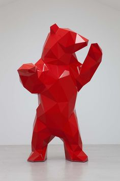 POLYGON BEAR A red bear in it's simplest form.