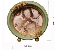 SIKOO Vintage Picture Frame Green Family Round Photo Frame for Home Decoration Round Picture Frames, Vintage Picture Frames, Vintage Pictures, Decorative Plates, Decoration, Green, Home Decor, Vintage Photo Frames, Decor
