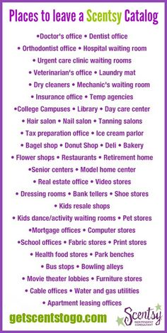 Great tips on where to leave Scentsy catalogs!