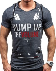 Pump up the Volume music t shirt for men cool gray hooded tee