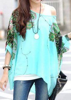 batwing print blouse