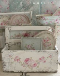 One of a kind vintage and antique hand painted shabby chic style paintings and accessories, available at www.debicoules.com
