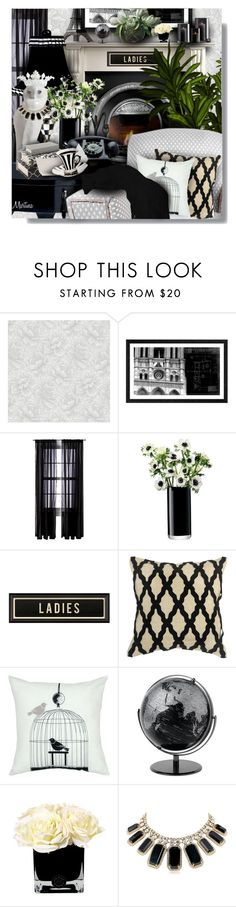 """""""White Owl"""" by thewondersoffashion ❤ liked on Polyvore featuring interior, interiors, interior design, home, home decor, interior decorating, Graham & Brown, Universal Lighting and Decor, Room Essentials and LSA International"""