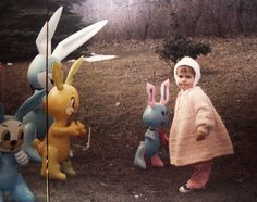 Oh my gosh, I had a few of these inflatable rabbits at Easter time as a small child. *shiver*