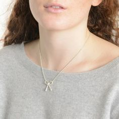 Want to tie the knot but aren't quite ready? Try our super pretty bow necklace. Bow Necklace, Tie The Knots, Valentines Day, Jewelry Necklaces, Bows, Jewels, Sterling Silver, Pretty, Collection