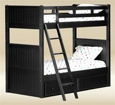 Buy quality Dillon black wood twin bunk bed for kids room. Find black bunk bed for boys with under bed drawer chest and trundle in Los Angeles. Safe Bunk Beds, Bunk Beds With Storage, Wood Bunk Beds, Bunk Beds With Stairs, Twin Bunk Beds, Kids Bunk Beds, Loft Spaces, Small Spaces, Black Bunk Beds