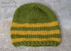 Striped Chunky Knit Hat Army Green and by HeartsContentByCat. For off use promo code Army Green, Knitted Hats, Hearts, Content, Knitting, Yellow, Etsy, Fashion, Moda