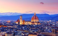 Download wallpapers Duomo, 4k, sunset panorama, Santa Maria del Fiore, Florence, Tuscany, Italy, Europe