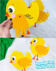 Handprint Chick Card <br> Make this simple and cute chick handprint card craft for spring or Easter. It's a simple paper craft for preschool and kindergarten children. Animal Crafts For Kids, Easter Crafts For Kids, Toddler Crafts, Preschool Crafts, Toddler Activities, Preschool Printables, Free Printables, Zoo Crafts, Printable Templates