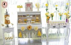 """Photo 1 of 28: Vintage / Baby Shower/Sip & See """"Yellow Vintage Baby Shower"""" 