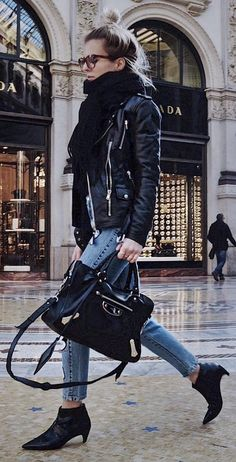 #winter #fashion / Black Scarf & Leather Jacket + Black Booties