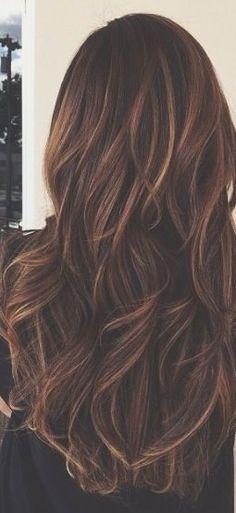 Long brunette caramel highlights winter waves pretty autumn brunette dye long hair hairstyles highlights