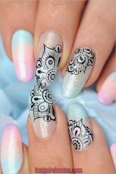 How to Make Nail Design Luxury 50 Intricate Lace Nail Art Designs Nenuno Creative Lace Nail Art, Lace Nails, Cool Nail Art, 3d Nail Art, Henna Nails, Mandala Nails, Art Mandala, Mandala Pattern, Nail Art Pictures
