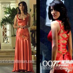Sexy Caterina Murino in Movie Casino Royale Celebrity Prom Dresses A-Line Coral Scoop Crisscross ...