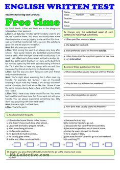 This simple test is about teens' free time activities. It includes reading comprehension, vocabulary, grammar and a written task. Key is included. English Grammar Exercises, English Grammar Worksheets, English Vocabulary, English Reading, English Writing, Teaching English, Esl Lessons, English Lessons, Learn English