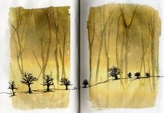 'Story Line', the adventures of a line who makes a break for freedom, more or less.  Photo transfer, watercolour, ink and pencil on paper.  Artist book by Meg Green, SomeOddPages.com