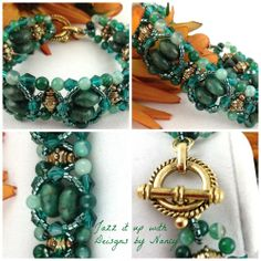 Hunter Green Brass Embellished Top Handmade Beaded bangle bracelet