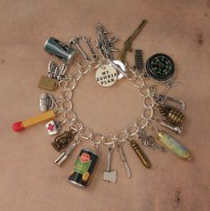 "I've Got A ZOMBIE PLAN Charm Bracelet For The Zombie Apocalypse... so much easier than running to the file cabinet, searching for the ""Zombie Apocalypse"" file, dumping it out, and locating the ""Zombie Apocalypse Must-Haves Check List"", especially when your house is surrounded by the walking dead!"