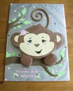 Monkey Girl Cake on Cake Central Monkey Cupcake Cake, Monkey Birthday Cakes, Monkey Birthday Parties, Monkey Cakes, Birthday Ideas, Boy Birthday, Curious George Party, Family Cake, Boite A Lunch
