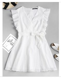 Ruffle Broderie Anglaise Partykleid – WHITE S # whitedress # Sommerkleid # Causaldres … - Mode Frauen Club Sexy Dresses, Dress Outfits, Nice Dresses, Girl Outfits, Girls Dresses, Cute Outfits, Summer Dresses, Summer Clothes, Dress Clothes
