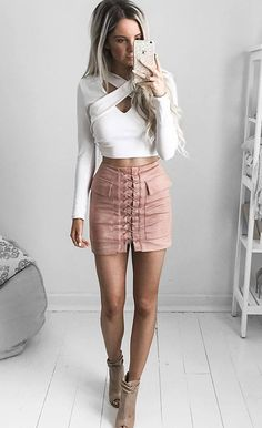 Blush Pocket Tight Suede Lace Up Skirt