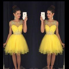 Junior Homecoming Dresses 2016 Party Dress Knee Length Junior mezuniyet elbiseleri Sheer Ball Gowns Short Prom Dresses Crystals