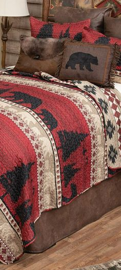 Bear Quilt Bedding | Highlighted in deep crimson, this lightweight microfiber bedding features silhouetted bands of bears and a geometric reverse.